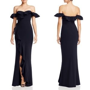 LIKELY Navy Miller Off-the-shoulder Ruffled Gown 8